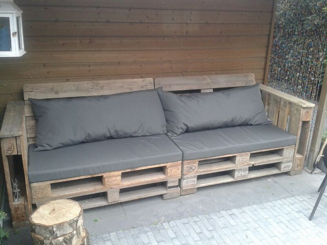 Bank Van Pallets : Zelfgemaakte bank met pallets bench made with pallet garten